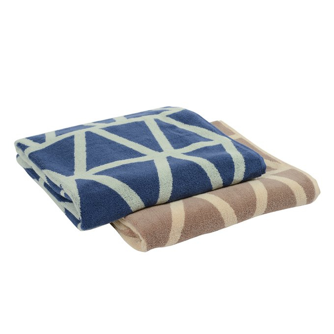 Жаккардовое банное полотенце Wild с авторским дизайном geometry коричнево-бежевого цвета
