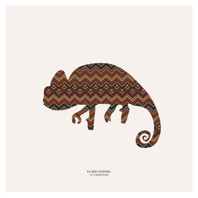 Картина (репродукция, постер): Зимний зоопарк, хамелеон