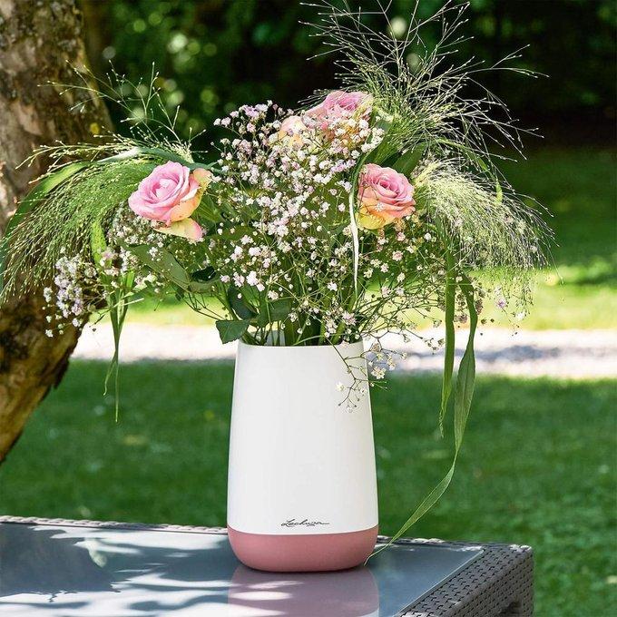 Ваза Юла Флауер Бело/ярко-розового цвета