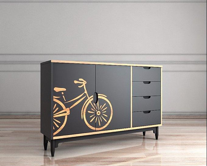 Комод с велосипедом Travel серого цвета