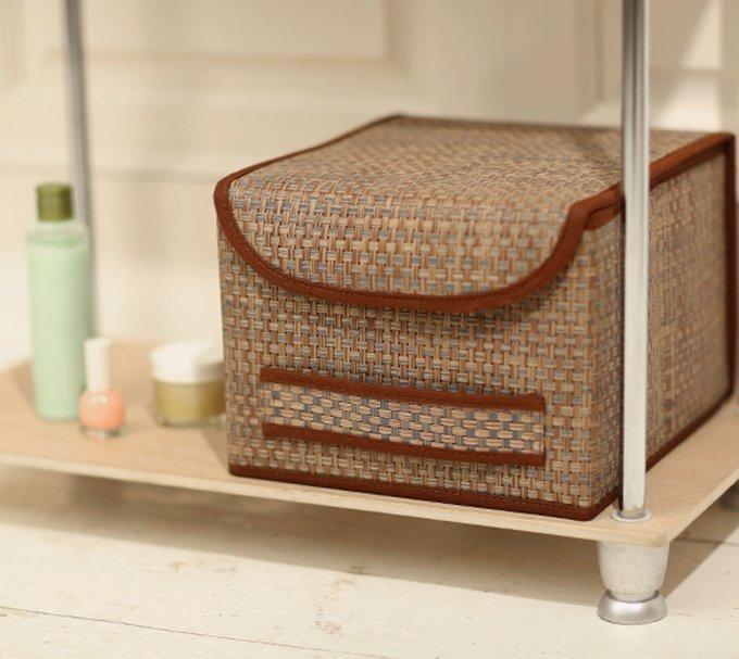 Коробка для хранения Casy Home с крышкой коричневая