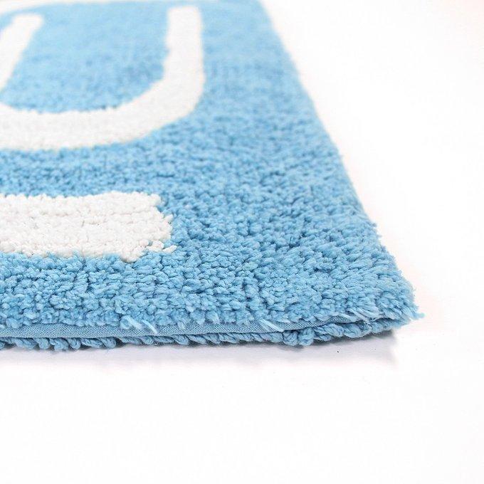 Коврик для ванной Go Round голубого цвета из натурального хлопка 60х90