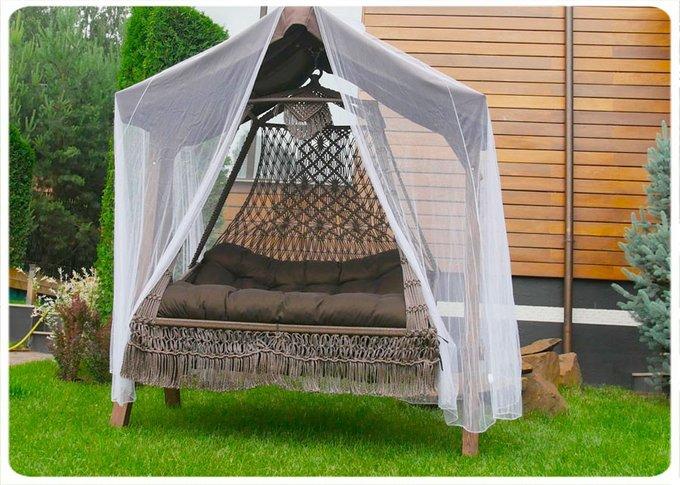 Подвесные плетеные качели  Сеара с подушкой