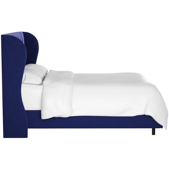 Кровать Reed Wingback Blue Velvet синего цвета 160х200
