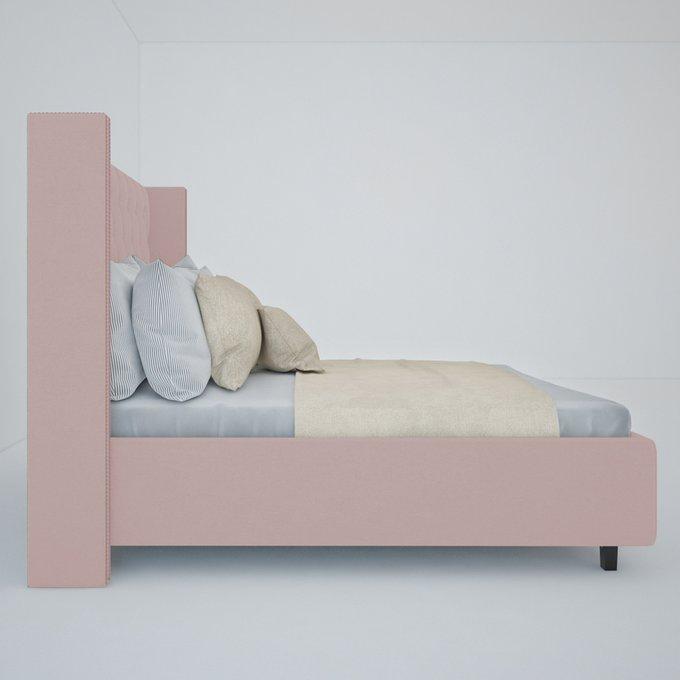 """Кровать с декоративными гвоздиками """"Wing"""" Велюр Пыльная роза 160x200"""