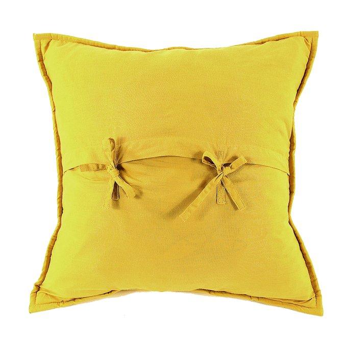 Чехол на подушку бархатный Хвойное утро горчичного цвета