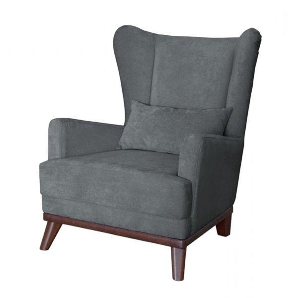 Кресло Оскар в обивке из велюра темно-серого цвета