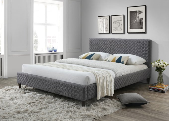 Кровать Isabel Queen Size Bed серого цвета 160х200
