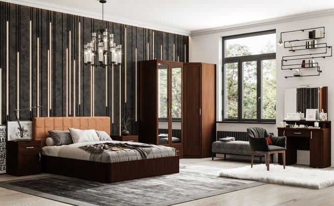 Кровать Магна 140х200 с коричневым изголовьем и подъемным механизмом