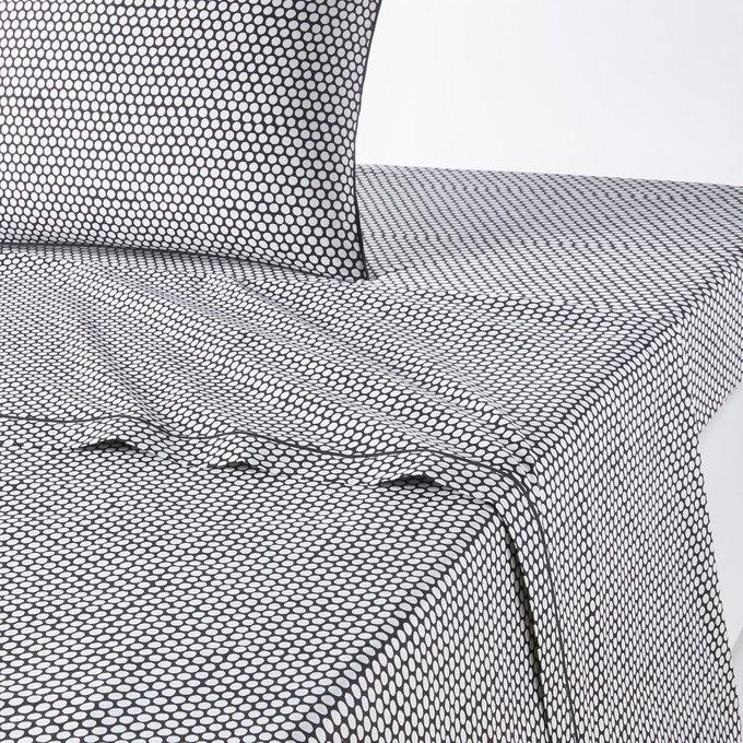 Простынь Duo из перкаля черно-белого цвета 180x290