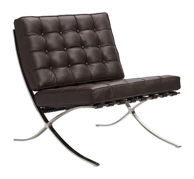 Кресло Barcelona Chair коричневого цвета