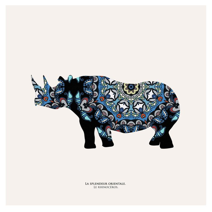 """Картина """"Восточная яркость, носорог"""""""