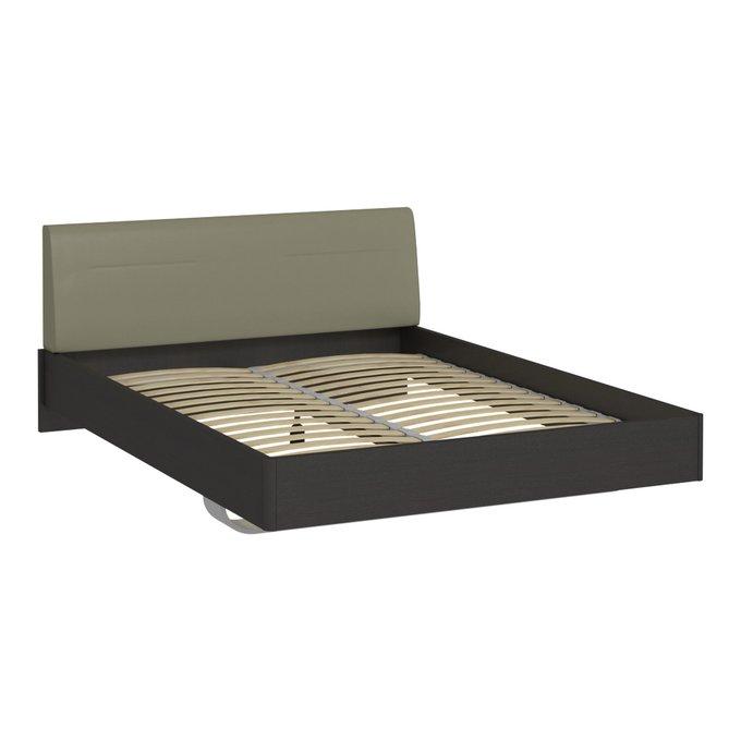 Кровать Элеонора 140х200 с изголовьем серо-бежевого цвета