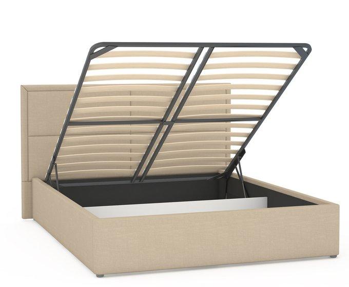 Кровать Прага бежевого цвета с подъемным ортопедическим основанием и дном 160х200