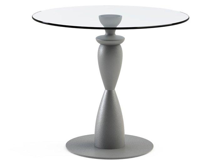 """Обеденный стол """"CANTALESO Silver"""" с круглой столешницей из закаленного стекла"""