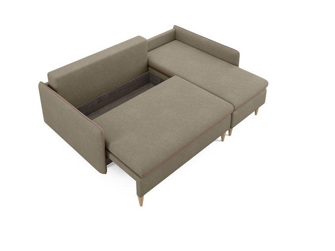Угловой диван-кровать Ron серо-бежевого цвета