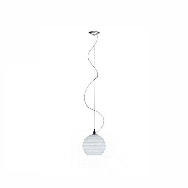 Подвесной светильник Fabbian Echo с плафоном из фактурного стекла белого цвета