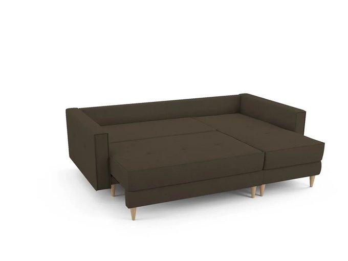Угловой Диван-кровать Отто  правый темно-коричневого цвета