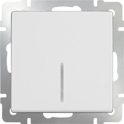 Выключатель одноклавишный с подсветкой белого цвета