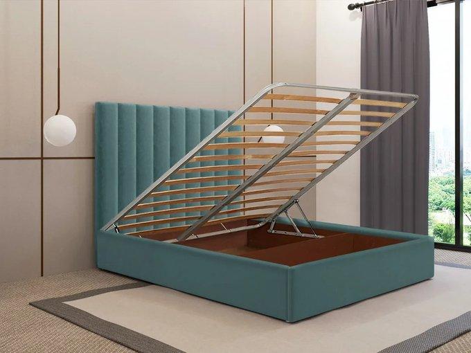 Кровать Параллель тёмно-бирюзового цвета 120х200 с подъемным механизмом