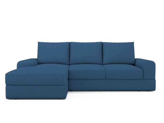 Угловой Диван-кровать Elke левый синего цвета