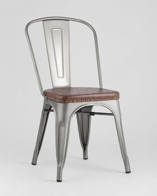 Обеденный стул Tolix Soft серебристого цвета