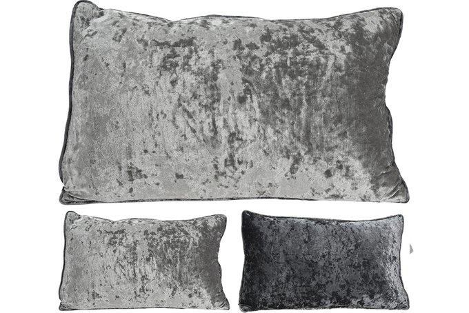 Подушка из велюра серого цвета