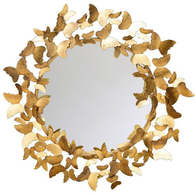 Настенное зеркало Тропикано цвета состаренного золота
