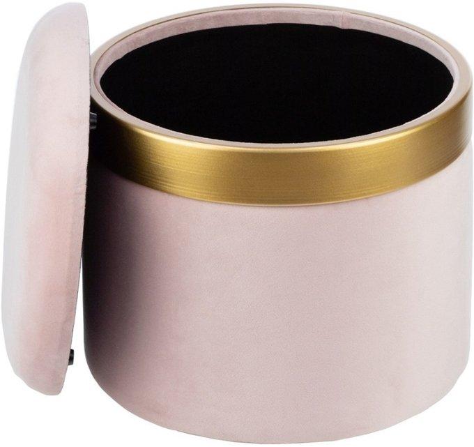 Пуф розового цвета с металлической отделкой