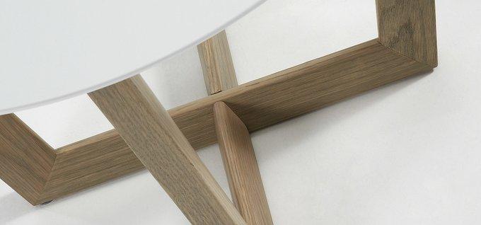 Столик журнальный Julia Grup Rondo с основанием из массива дерева
