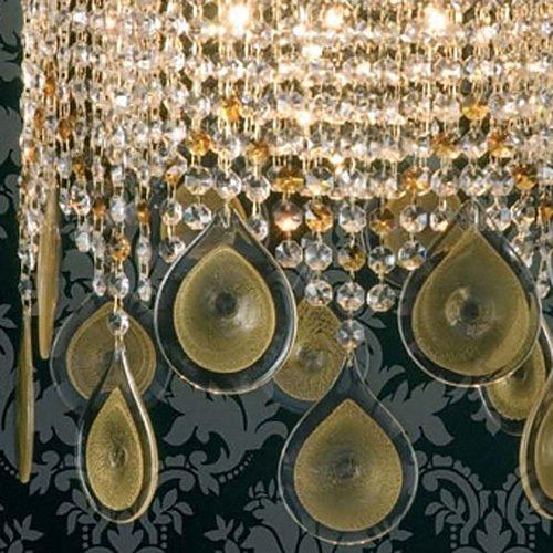 Подвесной светильник Jago с цепочками из прозрачного и янтарного хрусталя