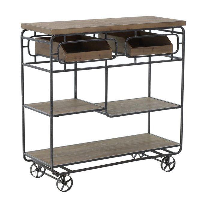 Консольный стол из металла и дерева на колесах