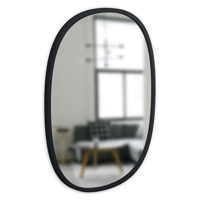 Зеркало настенное овальное Hub черное 45х60