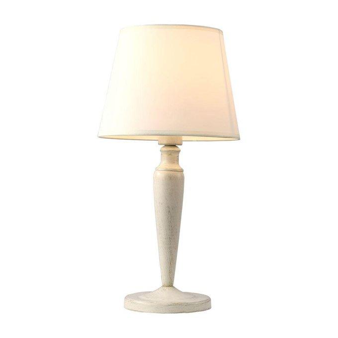 Настольная лампа из металла с кремовым абажуром