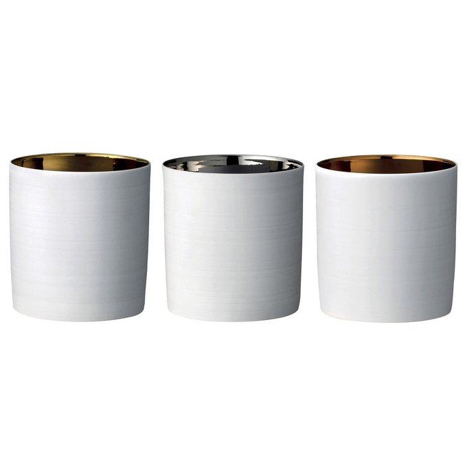 Набор из трех подсвечников белого цвета