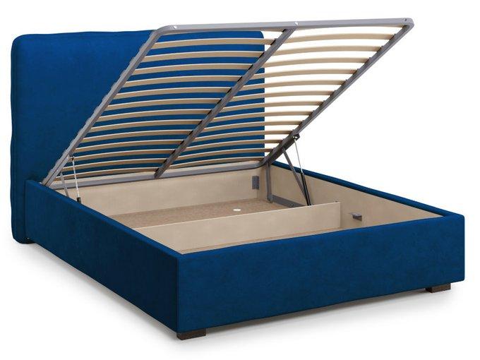 Кровать Brachano 160х200 синего цвета с подъемным механизмом