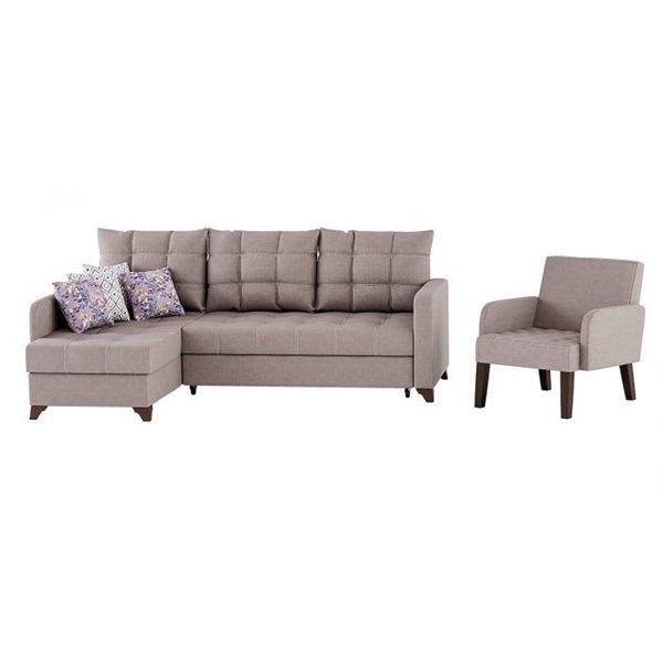 Угловой диван-кровать с креслом Квадро серого цвета