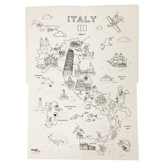 Карта-раскраска 'Coloriage' (разные дизайны) / Italy