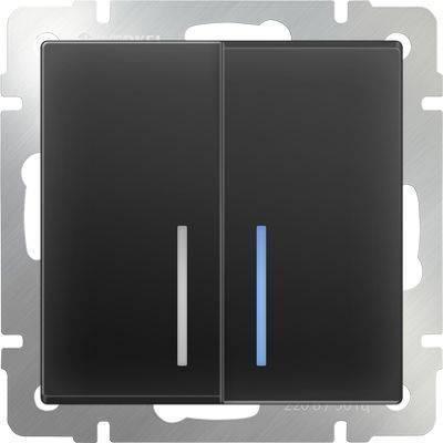 Выключатель двухклавишный с подсветкой черного матового цвета