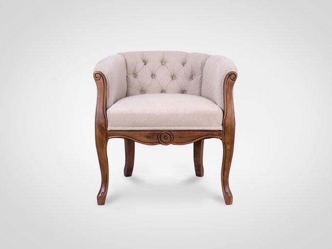 Кресло с подлокотниками и ножками из натурального дерева