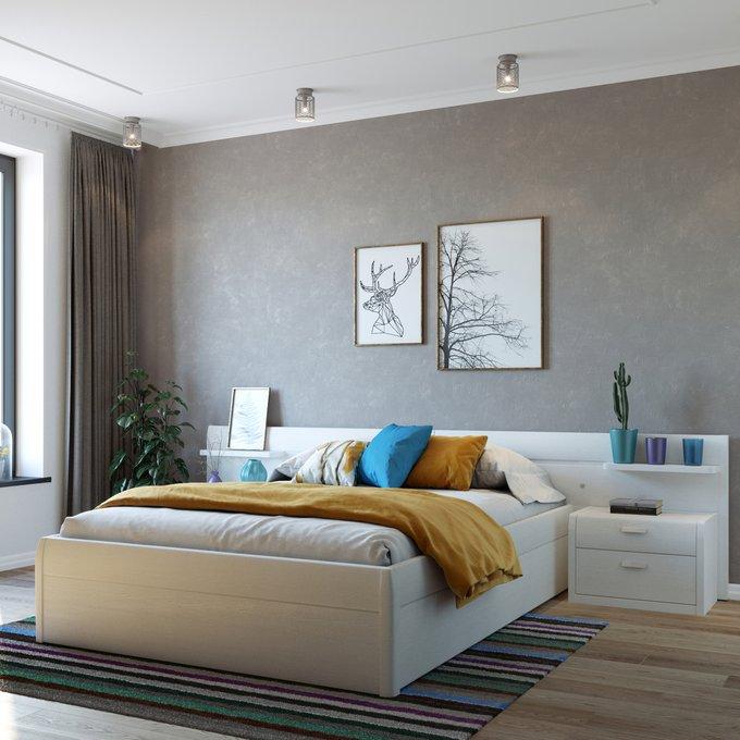 Кровать Илона 160х200 белого цвета с подъемным механизмом