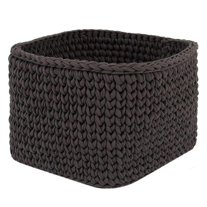 Вязаная корзина квадратная темно-серого цвета