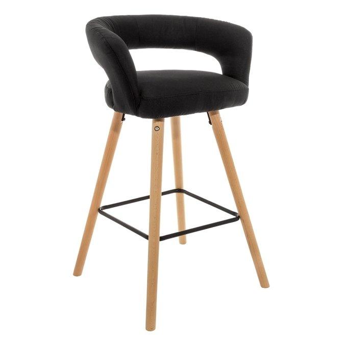 Барный стул Mars черный с ножками из массива бука