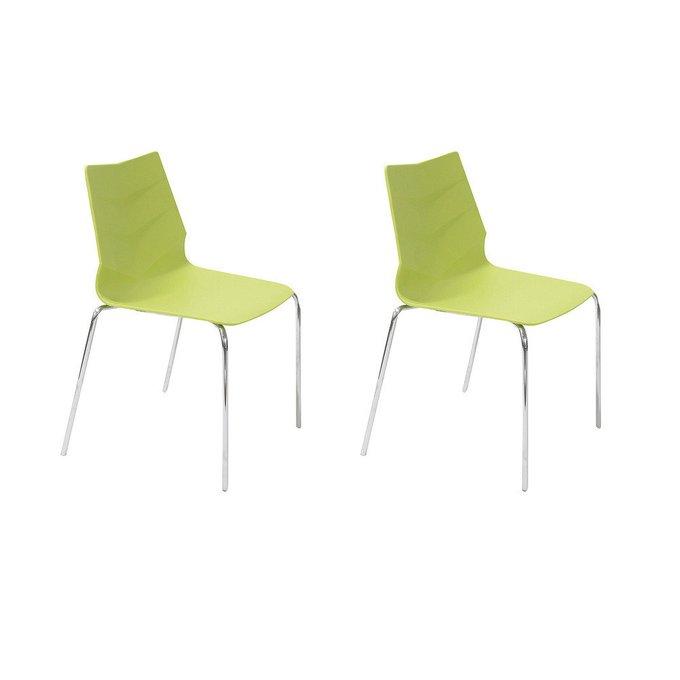 Набор из двух стульев на ножках из хромированного металла