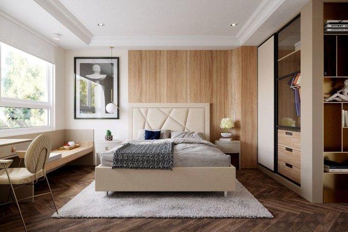 Кровать Геометрия 200х200 светло-бежевого цвета