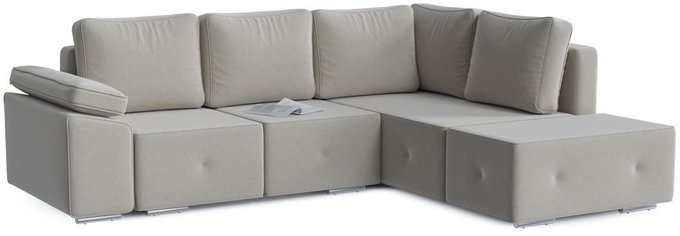 Диван-кровать угловой Хавьер серо-бежевого цвета