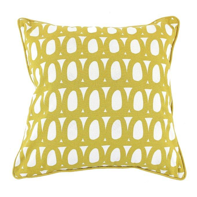Двухсторонний чехол для подушки Twirl горчичного цвета c декоративной окантовкой