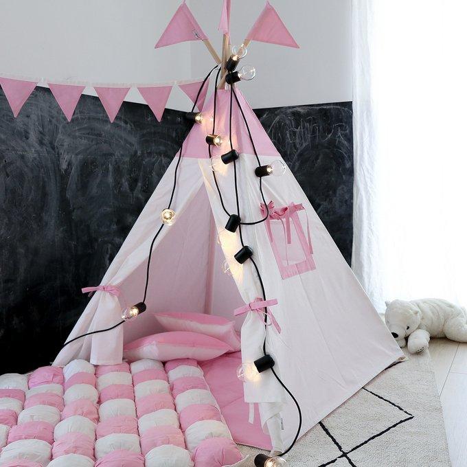 Вигвам для детей Simple Pink с окном и карманом