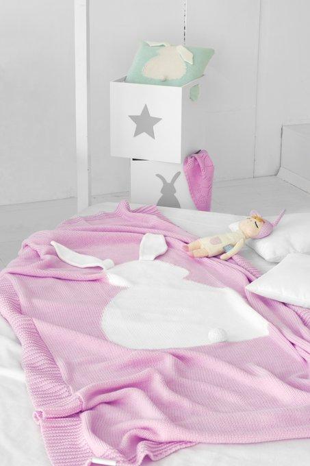 Плед Зайка 115х190 розовый+белый