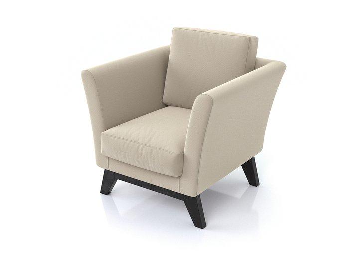 Кресло Дублин с ножками из массива сосны и обивкой из молочного велюра